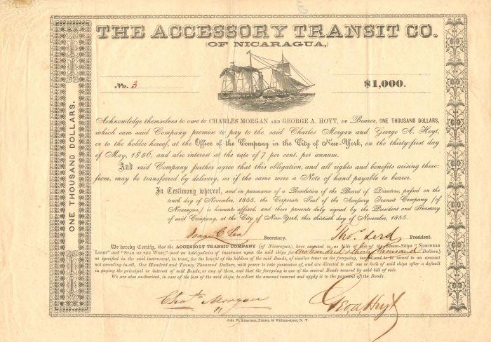 Accessory Transit Co. of Nicaragua - $1,000 - Bond