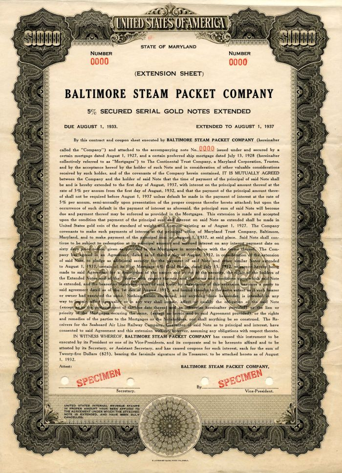 Baltimore Steam Packet Company - $1,000 - Bond