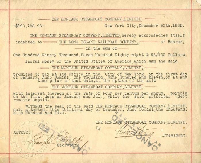 Montauk Steamboat Company, Limited - $190,788.98 - Bond