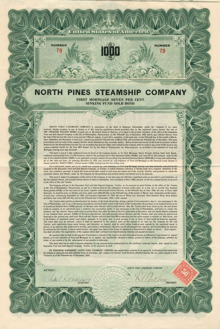 North Pines Steamship Company - $1,000 - Bond