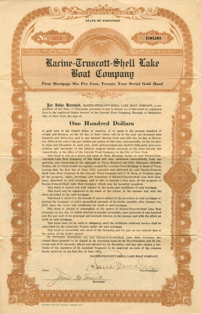 Racine-Truscott-Shell Lake Boat Company - $100 - Bond