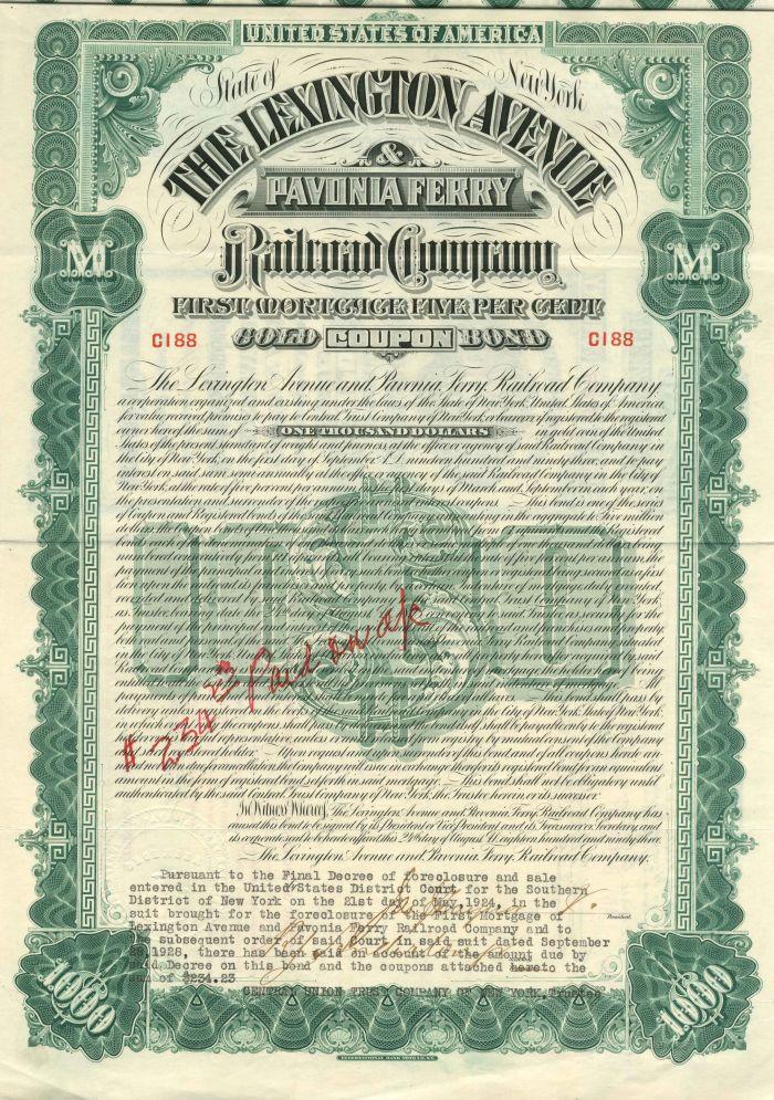 Lexington Avenue and Pavonia Ferry Railroad Company - $1,000 - Bond