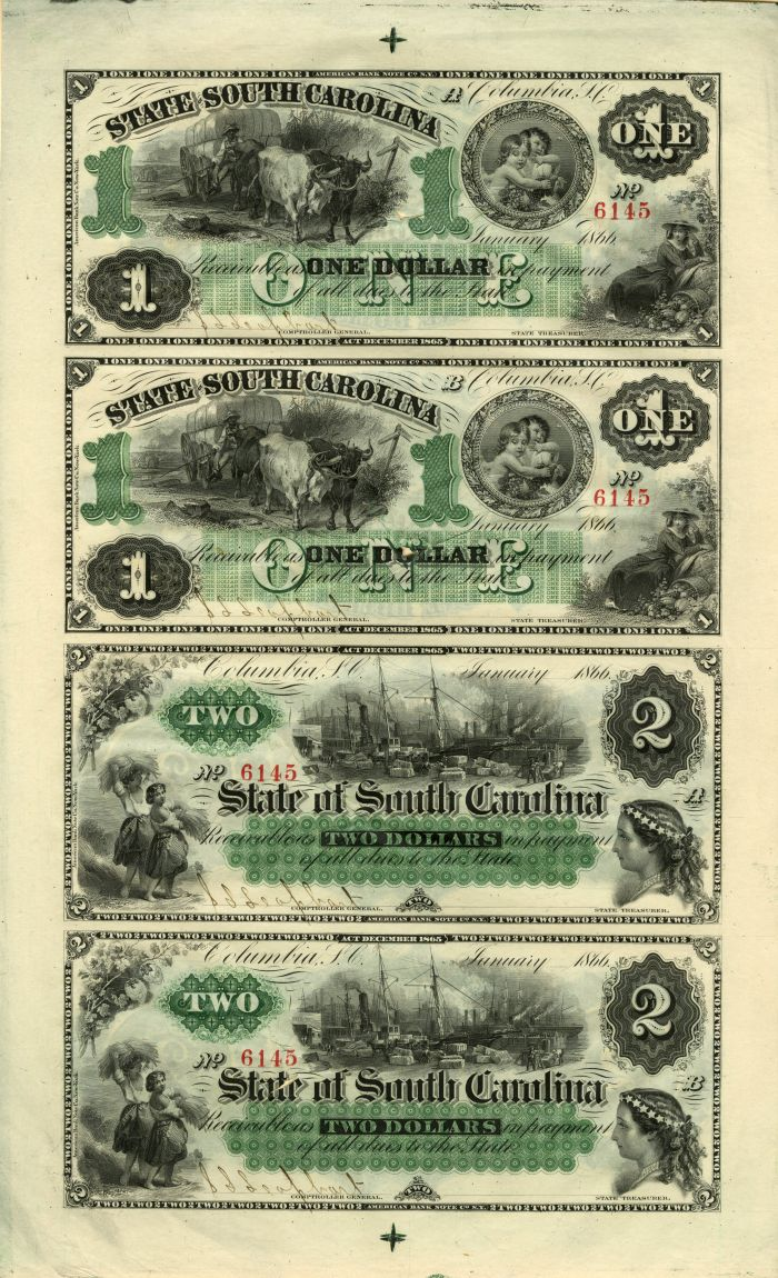 State of South Carolina - Uncut Obsolete Sheet - Broken Bank Notes - SOLD