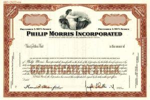 Philip Morris Incorporated - Stock Certificate - SOLD