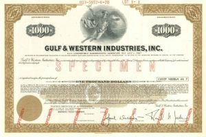 Gulf & Western Industries, Inc. - $1,000