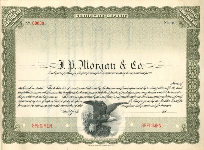 J.P. Morgan and Co. - Stock Certificate