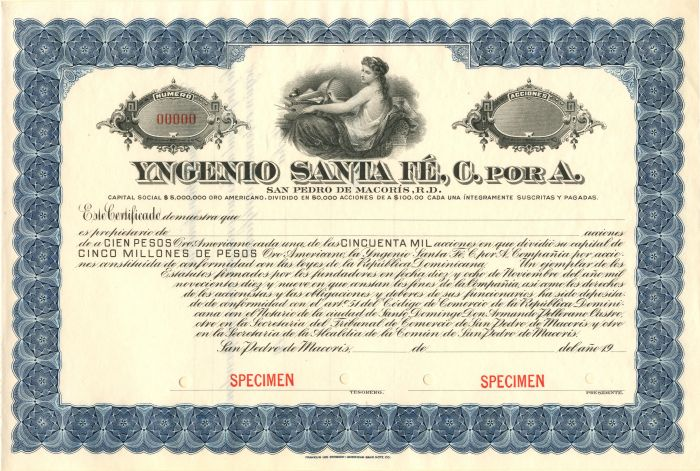 Yngenio Santa Fe, C. Por A. - Stock Certificate
