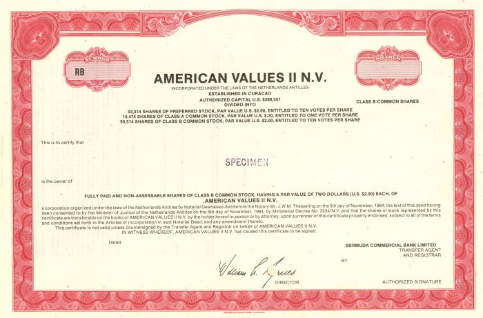 American Values II N.V. - Stock Certificate