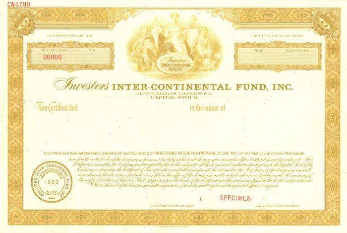 Investors Inter-Continental Fund, Inc. - Stock Certificate