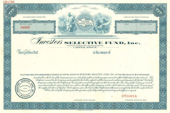 Investors Selective Fund, Inc. - Stock Certificate
