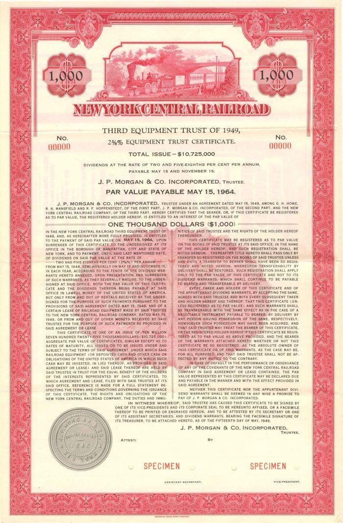 New York Central Railroad - $1,000 - Bond