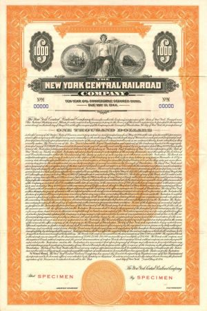 $10,000 New York Central /& Hudson River Railroad Company Bond Stock Certificate