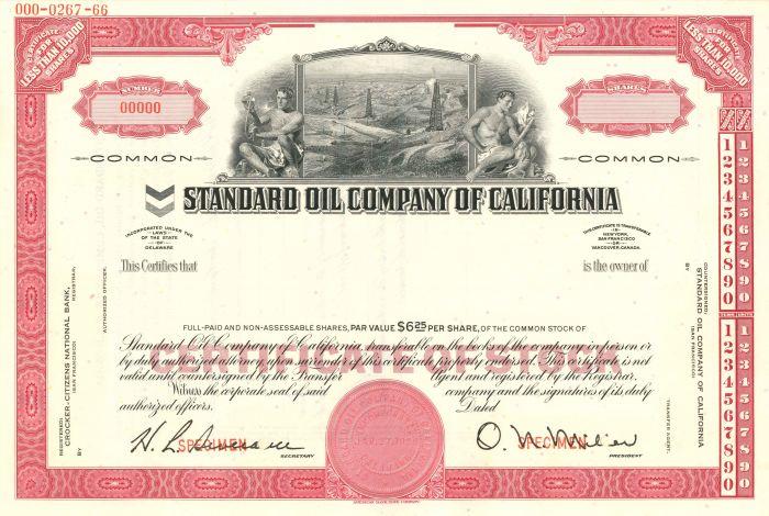 Standard Oil Company of California - Stock Certificate