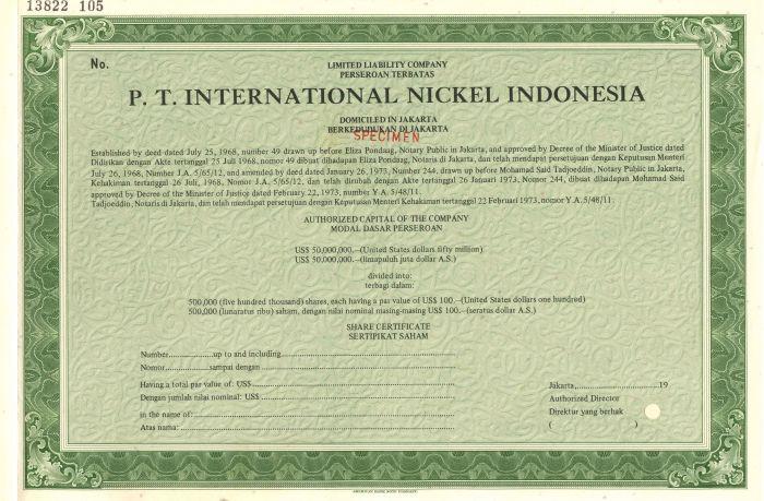 P.T. International Nickel Indonesia - Specimen Stock Certificate