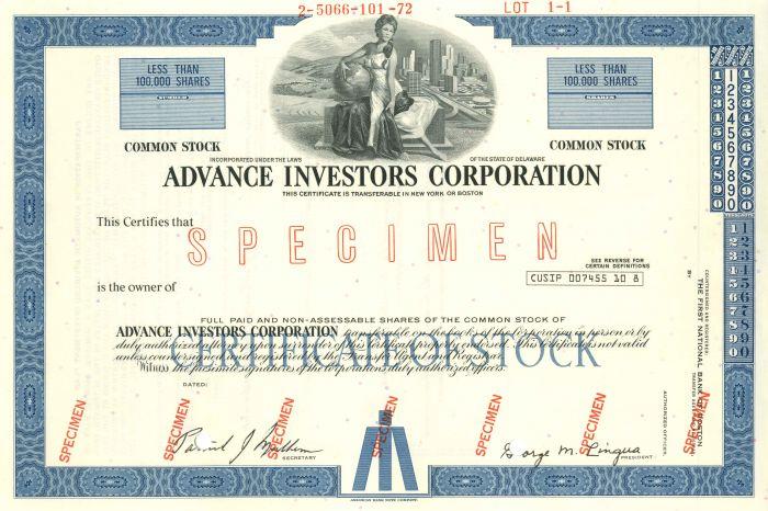 Advance Investors Corporation - Stock Certificate