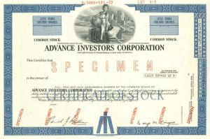 Advance Investors Corporation - Stock Certificate