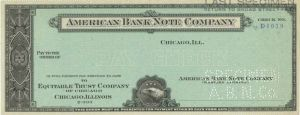 American Bank Note Company - Specimen Check - SOLD