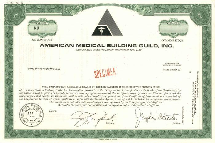 American Medical Building Guild, Inc. - Stock Certificate