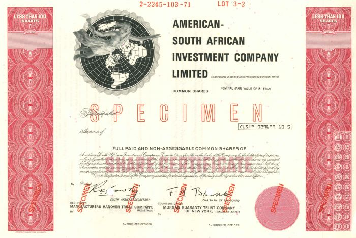 American-South African Investment Company Limited - Stock Certificate