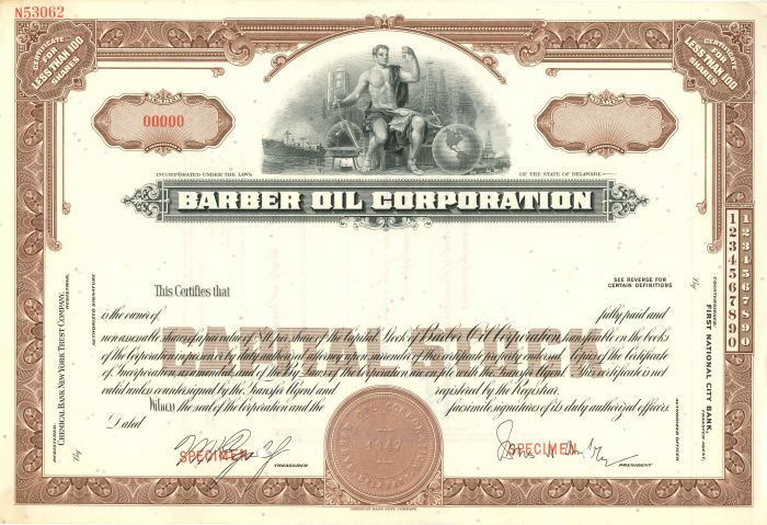 Barber Oil Corporation - Stock Certificate