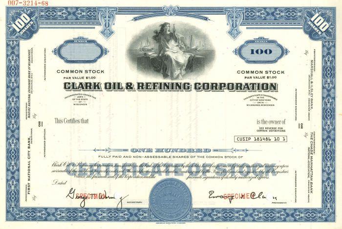 Clark Oil & Refining Corporation - Stock Certificate - SOLD