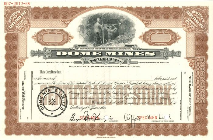 Dome Mines Limited - Specimen Stock Certificate