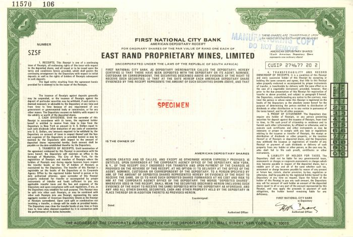 East Rand Proprietary Mines, Limited - Stock Certificate