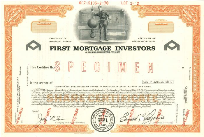 First Mortgage Investors - Stock Certificate