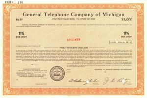 General Telephone Company of Michigan - $5,000