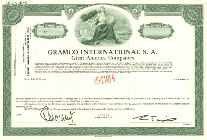 Gramco International S.A. - Stock Certificate