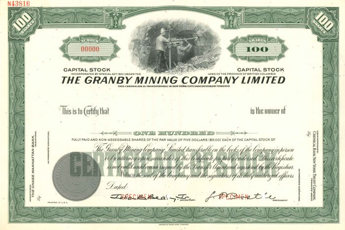 Granby Mining Company Limited - Stock Certificate