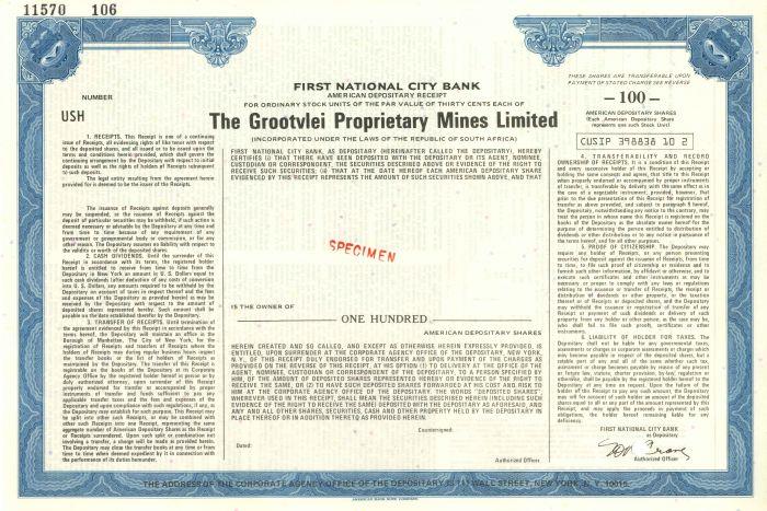 Grootvlei Proprietary Mines Limited - Stock Certificate