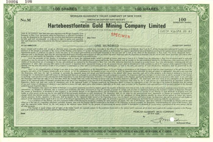 Hartebeestfontein Gold Mining Company Limited - Stock Certificate