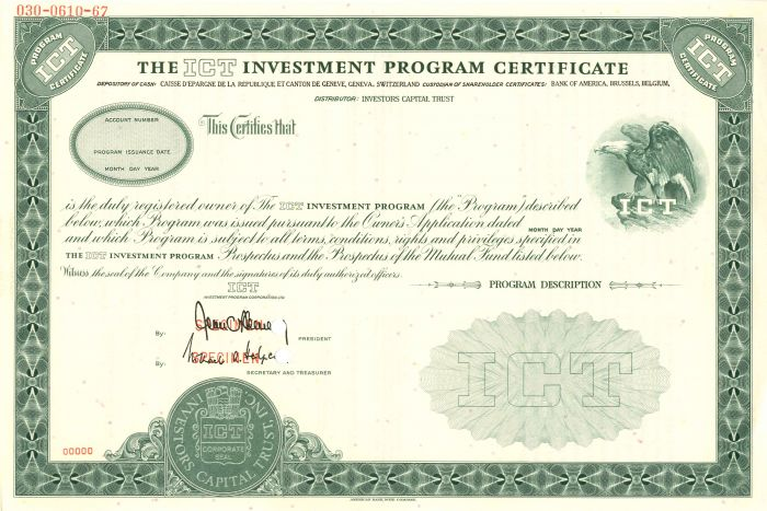 ICT Investment Program Certificate
