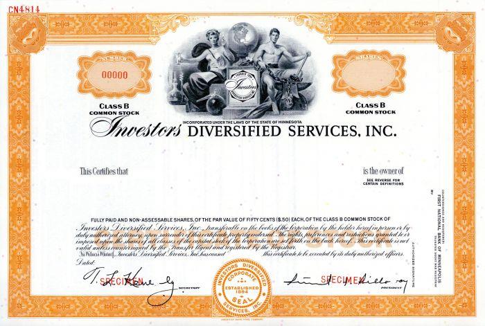 Investors Diversified Services, Inc. - Very Historic Specimen Stock Certificate