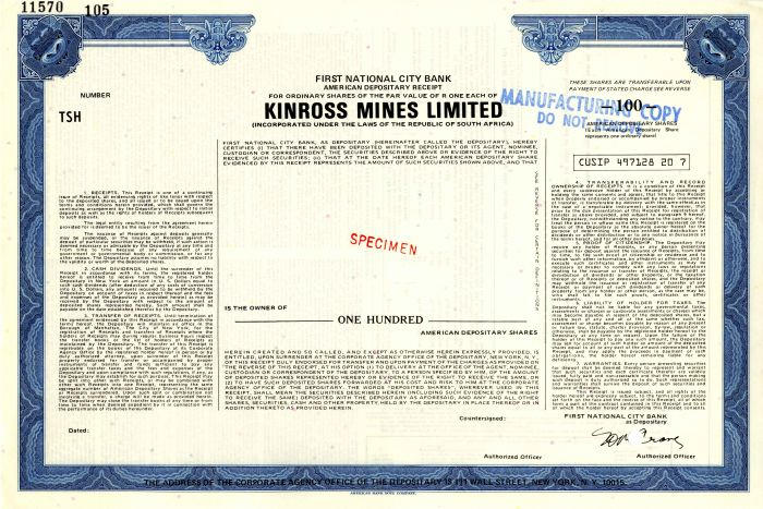 Kinross Mines Limited - Stock Certificate