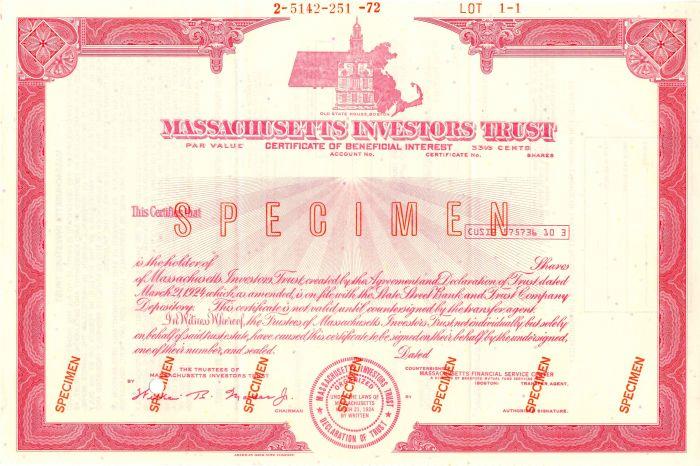 Massachusetts Investors Trust - Stock Certificate