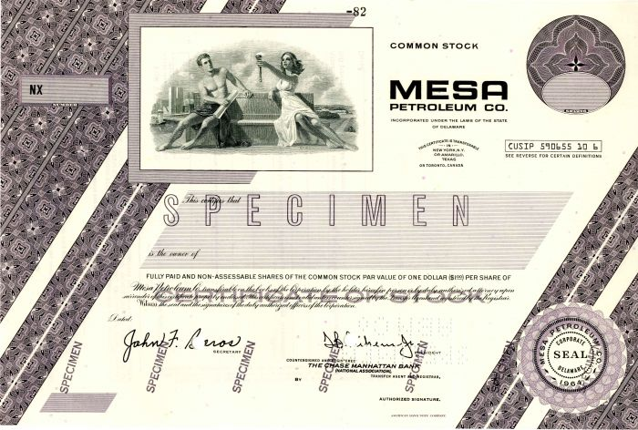 Mesa Petroleum Co. - Stock Certificate