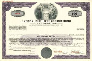 National Distillers and Chemical Corporation - $100 - Bond - SOLD
