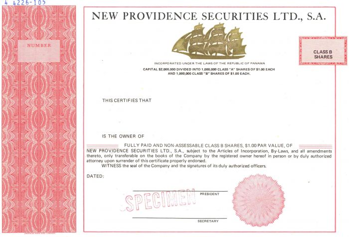 New Providence Securities Ltd., S.A. - Stock Certificate