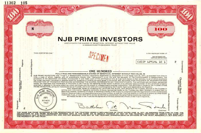 NJB Prime Investors - Stock Certificate
