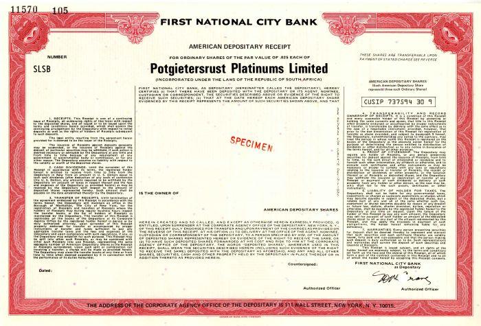 Potgietersrust Platinums Limited - Stock Certificate