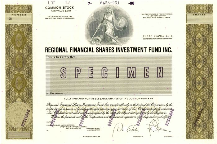 Regional Financial Shares Investment Fund Inc. - Stock Certificate
