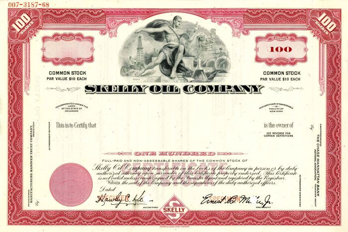 Skelly Oil Company - Stock Certificate - SOLD