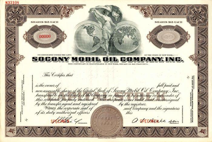 Socony Mobil Oil Company, Inc. - Stock Certificate - SOLD