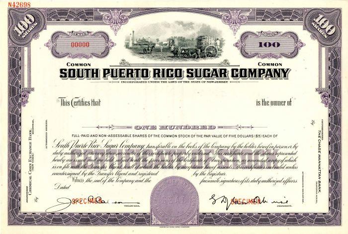South Puerto Rico Sugar Company - Stock Certificate