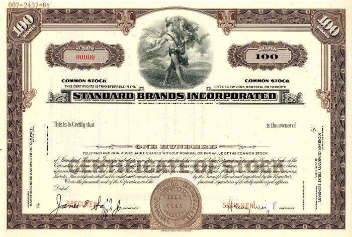 Standard Brands Incorporated - Stock Certificate