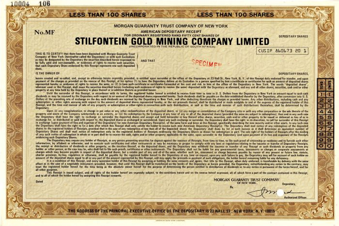 Stilfontein Gold Mining Company Limited - Stock Certificate