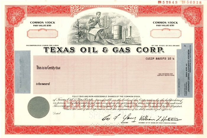 Texas Oil & Gas Corp. - Stock Certificate