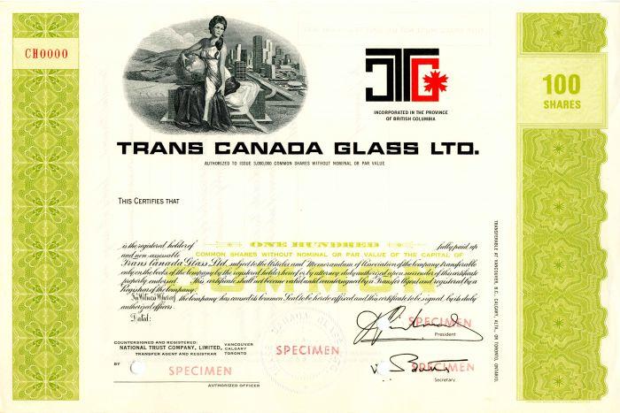 Trans Canada Glass LTD. - Stock Certificate
